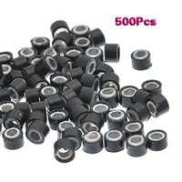 Wholesale link stick for sale - Group buy 500 Black mm Silicone Lined Micro ring Links Beads for I Stick Hair Extension Installation and Feathers