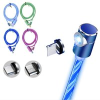 Wholesale motorola cell phones for sale - Magnetic Charging Cable Degree LED Type C Micro USB in Charger Cell Phone Cables for Android iPhone Metal Head Cord Line