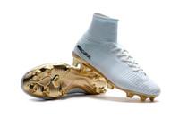 tacos de oro ronaldo al por mayor-Botines de fútbol CR7 en oro blanco Mercurial Superfly FG V Kids Soccer Shoes Cristiano Ronaldo