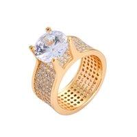 anillo de diamantes chapado en oro venta al por mayor-anillo de diamantes de hip hop con piedras laterales para la venta de los hombres anillos de cristal de lujo de oro verdadero plateado cobre de circón joyería de regalo de diseño para bf