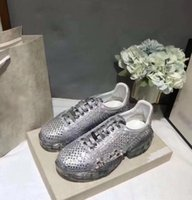 Wholesale mint tie online - 2019 Women Crystal Rhinestone Shoes Plarform Shoe Woman Round Toe Cross tied Thick Platform Real Leather Casual Shoes Size