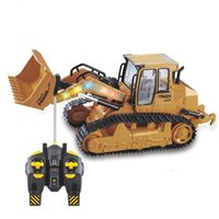 Wholesale toys for children trucks online - RC Bulldozer Remote Control Constructing Truck Crawler Digger Model Electronic Engineering For Children High Quality wy D1