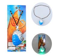 blaue stein seil halskette großhandel-Halskette LED Musik Sound Ozean Romantik Seil Kette Halsketten Blau Stein Herz Anhänger Cosplay Requisiten Spielzeug Geschenk für Kinder