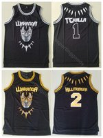 Wholesale free shipping basketball team jerseys for sale - Group buy College WAKANDA Movie Black Panther Tchalla Hillmoager Erik Killmonger Basketball Jerseys Black Team Color Breathable
