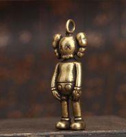 cobre chaveiros venda por atacado-Original Companheiro Chave Kaws Boneca de Metal de Cobre Puro Violento Urso Chaveiro Marca de Moda Chave / Colar de Pingente de Jóias