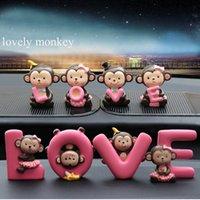 muñecas de la decoración del mono al por mayor-1 juego de accesorios para el coche Lovely monkey Dolls Adornos cute Baby Doll auto Decoration bonito regalo potente happy sweet monkey