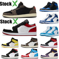 Wholesale scott cycling tops resale online - New Arrival Mens s Low Travis Scott Red Top Quality Basketball Shoes Designer Luxury Shoes Yellow Toe Fashion Women Trainer Sport Sneakers