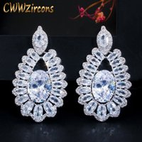 Wholesale silver jewelry for evening resale online - CWWZircons Sparkling Oval CZ White Crystal Silver Big Dangle Drop Earrings for Women Evening Dinner Party Jewelry CZ638