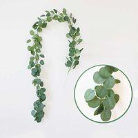 künstliche reben großhandel-Künstliche grüne Eukalyptus Reben Rattan Hochzeit Dekoration künstliche Kunstpflanzen Ivy Wreath Wall Decor Gartendekoration