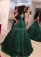 Wholesale evening dresses online - Luxury Biling Evening Dresses Deep V Neck Sparkly Sweep Train Backless Formal Party Prom Gowns Charming Special Occasion Dress Vestidos