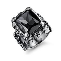 joyas de piedras preciosas de imitación al por mayor-Anillos de acero de titanio de lujo para hombres - Diseñador de anillo de compromiso de piedras preciosas de imitación vintage Joyería fresca - el mejor regalo para hombres