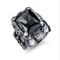 erkekler için taklit yüzükleri toptan satış-Lüks Titanyum çelik erkek yüzük-Vintage İmitasyon Taş nişan yüzüğü tasarımcı Serin takı-erkekler için en iyi hediye