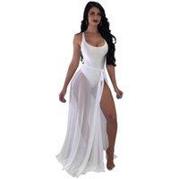 jupes fines achat en gros de-Sexy Deux Pièces Voir À Travers Plage Définit Mode Soild Bodys Avec Sheer Mesh Cover Ups Mousseline De Soie Jupe Costumes