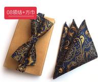 галстуки-бабочки оптовых-SCST  Gravata Gold Paisley Print Blue Handkerchief Mens Silk Ties For Men Bow Tie With Match Pocket Square 2pcs Set A058