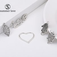 Wholesale fatima hand pendant for sale - Group buy Vintage Silver Owl Animal Heart Love Leaf Hamsa Hand Fatima Palm Pendant Charm for Bracelet Necklace Cute Diy Charm Jewelry Making