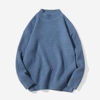 jersey de estilo coreano para hombre al por mayor-Nueva moda suéter para hombre Pullover Sólido Slim Fit suéter de punto de lana otoño estilo coreano Casual hombres ropa