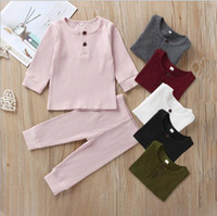 Wholesale kids sleep clothes resale online - Baby kids Sleeping Clothing Sets solid Color long sleeve O neck Shirt pants Clothing Sets Cotton sets Sleeping clothing Co
