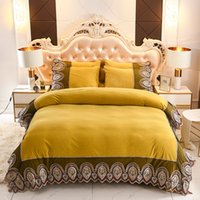 Wholesale black yellow gray sheets resale online - Yellow Green Purple Gray Winter Velvet European Lace Bedding Set Fleece Fabric Duvet Cover Bed sheet Pillowcases