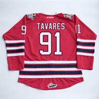marca de jersey al por mayor-Custom NCAA CHL Oshawa Generales para hombres # 91 John tavares Red Hockey Jersey cosido CCM Brand Logos bordado cualquier nombre Número
