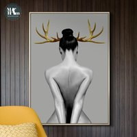 Wholesale painting nudes girls for sale - Group buy Nordic Antlers Girls Figuars Wall Art Canvas Painting Prints Posters Black White Nude Art Pictures for Living Room Morden Decor