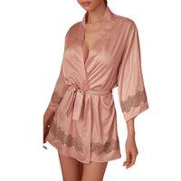 bestickte seide nachthemd großhandel-Frauen-reizvolle Nightgown vorzügliche gestickte Spitze Stretch Silk Seven-Shirt Komfortabel Sexy Damen Nachtwäsche Short