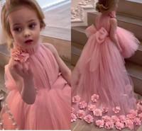 meninas flor primeira comunhão venda por atacado-2019 sweet pink flor menina vestidos 3d flores hi-lo big bow meninas pageant vestidos primera comunion longo vestido de daminha dress for kids