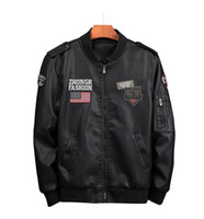 erkek deri uçuş ceketi toptan satış-2019 Sonbahar Kış Erkek Deri Uçuş ceketler Moda Kalın Streetwear hip hop tarzı Highstreet Stil Erkek Deri Ceket Plus Size M-6XL