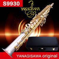 saxophone soprano droit achat en gros de-Saxophone Soprano YANAGISAWA S9930 B (B) Soprano Plaqué Argent Droit doré Key Sax Instruments de Musique Professionnels Embouchure shippin gratuit