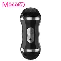 Wholesale 12v male masturbator online - Meselo Dual Channel Modes Self Heating Male Masturbator Man Blowjob Oral Vagina Real Pussy Vibrator Sex Toys For Men J190513