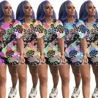 tigerhemden plus größen großhandel-Frauen Plus Size Druck Tiger Anzug Batik-T-Shirt Sport Anzug Trendy Shirt Shorts 2 Stück Sport Sommer Tasche Outfits LJJA2510-10