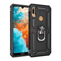 huawei onur metal durumda toptan satış-Lüks Zırh Metal Halka Vaka On Huawei P30 Pro P Akıllı 2019 Darbeye Vaka Kapak Için Huawei P30 Lite Onur 10 Yumuşak Kılıf