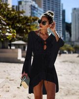 trajes de baño bikini caliente al por mayor-2020 calientes de protección solar y bikini blusas de gasa mantón del nuevo verano colores del bikini del traje de baño de limón playa orden MXI Encubrimientos