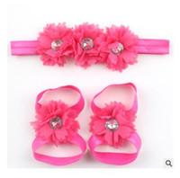 женские сандалии оптовых-Повязка на голову Baby Girl Flower Foot Head Sandal Set Детские повязки на голову Детские аксессуары для волос Ободки для девочек Мальчики Фотография реквизит Подарок