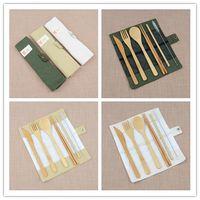 fiesta cuchara tenedor al por mayor-7 unids / set Juego de Cubiertos de Viaje Conjunto de Cubiertos de Bambú Palillos Tenedor Cuchara de paja Juego de Vajilla Al Aire Libre Fiesta de Boda Útiles Regalos