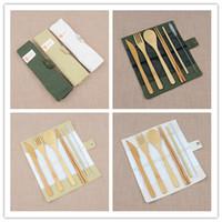 ingrosso set di forchetta di bambù-7pcs / set Invitato a un matrimonio regalo portatile Viaggi Posate bambù posate bacchette del cucchiaio della forcella paglia esterna Dinnerware Set partito Utile