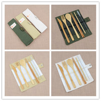 Wholesale gift wedding guests for sale - Group buy 7pcs set Portable Travel Cutlery Set Bamboo Flatware Set Chopsticks Fork Spoon Straw Outdoor Dinnerware Set Useful Party Wedding Guest Gifts