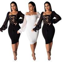 siyah dantel beyaz yakalı elbise toptan satış-Kuşgözü Lace Up Seksi Katı Kalem Elbise Kadın Kare Yaka uzun Fener Kol Diz Boyu Elbise Bahar Parti Kulübü Elbiseler Beyaz Siyah