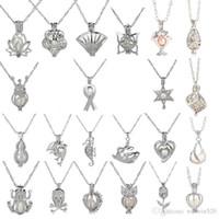 cadena de medallones de delfines al por mayor-18kgp Moda amor deseo Granos de la perla / joya locket jaulas colgantes, bricolaje encanto de perlas colgantes montajes 50pcs