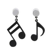 ingrosso orecchini note musicali-Orecchini a goccia acrilici asimmetrici neri della nota musicale delle donne Gioielli di modo
