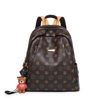 kahverengi okul çantaları toptan satış-Ücretsiz Kargo Yüksek Kalite Kadınlar Sırt Çantası Çanta Moda Hakiki Deri Seyahat Sırt Çantası Tasarımcı Okul Omuz Çantası (Kahverengi)