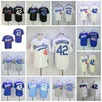 siyah n s toptan satış-Jackie Robinson Forması Brooklyn LA Dodgers # 42 MN Formaları Beyaz Siyah Mavi Dikişli