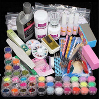 Professional Acrylic Liquid Powder Glitter Clipper Primer File Nail Art Tips Tool Brush Tools Set Kit