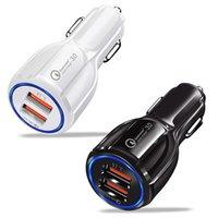mini-handy-ladung großhandel-QC3.0 Car Charger Schnellladung für Handy Dual USB Car Charger 3.0 Schnellladeadapter Mini Usb Car Chargers