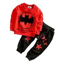 ingrosso pipistrello in cotone-Bambino Primavera Autunno Set Boy Bat Cartone animato a due pezzi Set Casual Outfit Cotton Long Sleeve Pants Cartoon Pants Suit 11