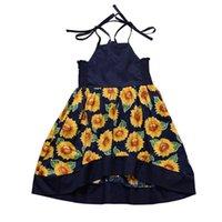 verband kind großhandel-Mädchen Kleider Kinderkleidung 2019 Sommer Bandage Hosenträger Sunflower Printed Princess Baby Kleid Kinder Kinder Kleidung Q105
