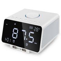 bluetooth radyo alarmı toptan satış-Led Çalar Saat Fm Radyo, Kablosuz Bluetooth Hoparlör Çalar, Usb Hızlı Şarj Portu, Tf Kart Oyun, Kapalı Sıcaklık