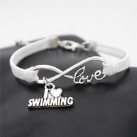 schwimmen schmuck großhandel-Mode lässig Strand Antik Silber Herz Ich liebe Schwimmen Unendlichkeit Liebeszauber weißes Leder Wildleder Armbänder für Schwimmen Liebhaber Schmuck Geschenke