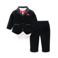 Wholesale boys three piece suits for sale - Group buy New baby boys outfits for wedding newborn baby boy clothes baby infant boy designer clothes boys suits coat romper pants retail A8091