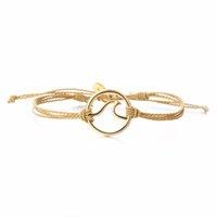 brazaletes de cuerda al por mayor-2018 caliente de la manera cadena de cera hecha a mano BraceletsBangles hecho a mano pulseras de la amistad para las mujeres joyería original ajustable