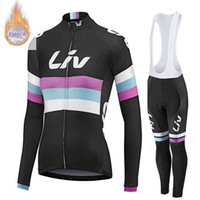 Wholesale cycling thermal trouser for sale - Group buy LIV woman Cycling Winter Thermal Fleece jersey bib pants sets New Warm long sleeve trousers bike wear outdoor sports equipment